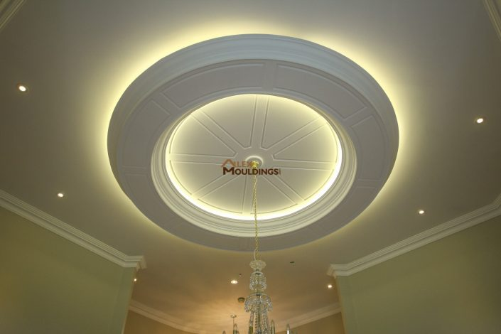 Ceiling circle with lighting and design on edges