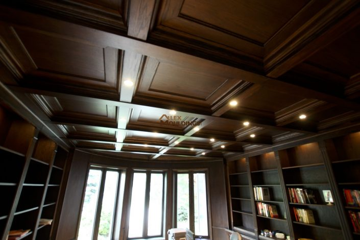 Library finished in oak with coffered ceiling and wainscottings
