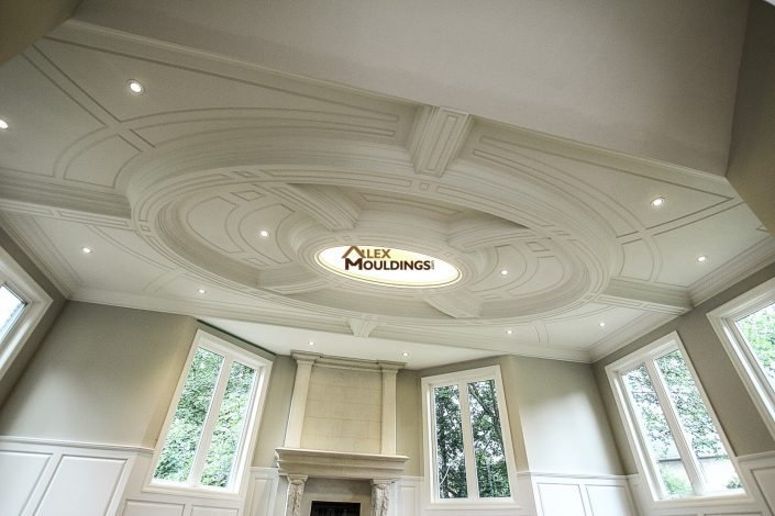 Oval shape beams and wainscoting on ceiling