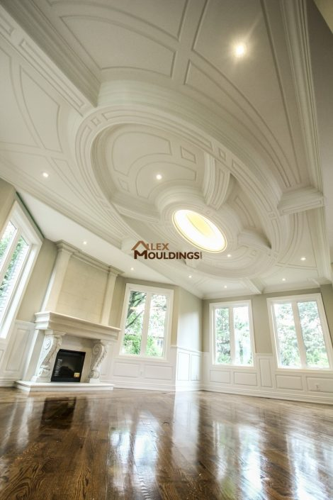 Creative oval ceiling design in a living room