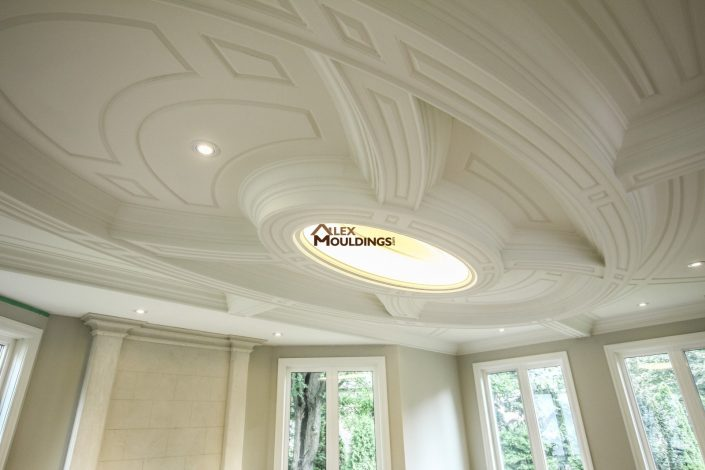 Unique oval shape ceiling idea with lighting and custom millwork