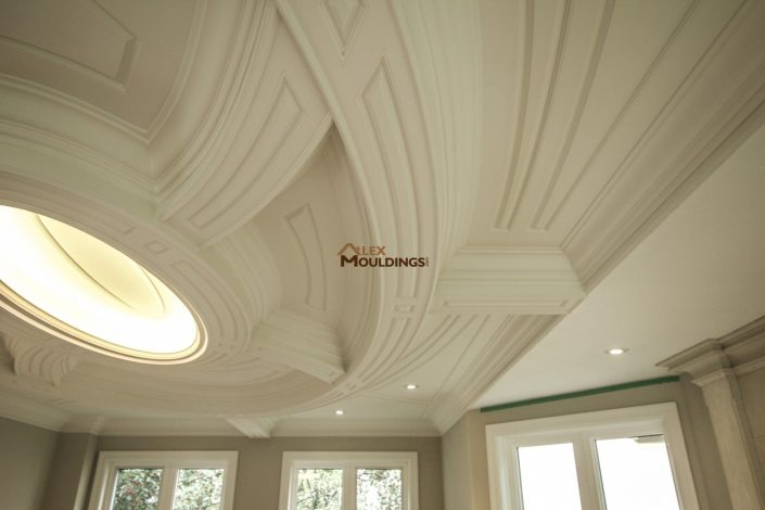 Custom designed ceiling with detailed ceiling millwork