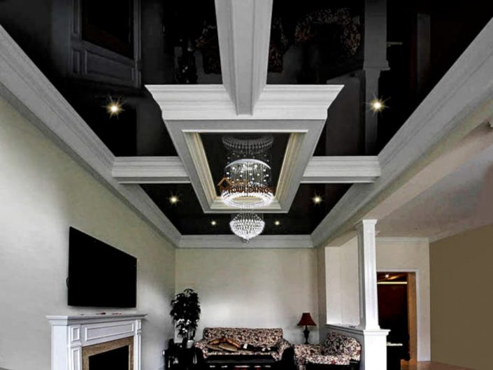 Coffered ceiling combined with a stretch ceiling materials