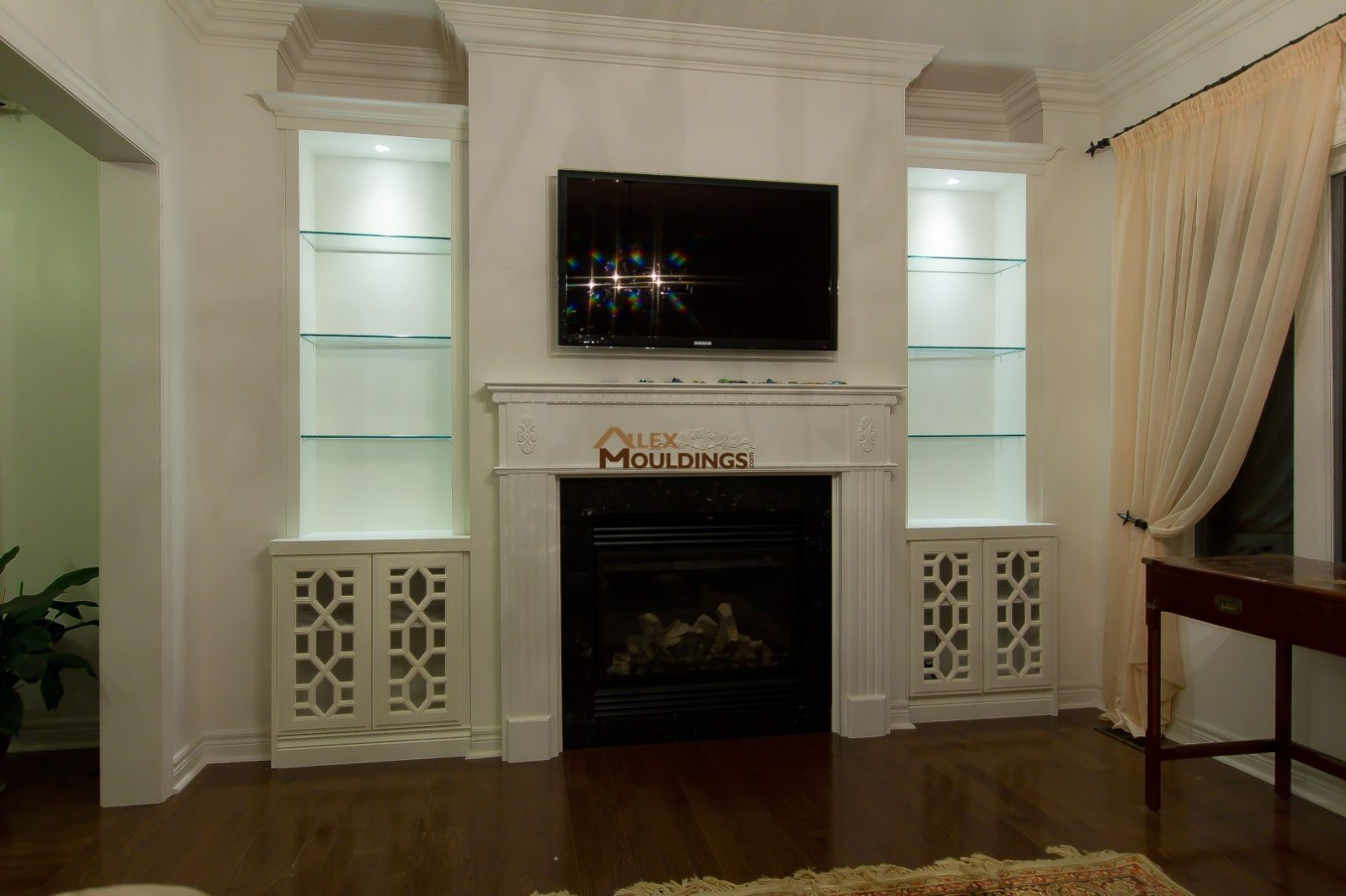 great fireplace bookshelves