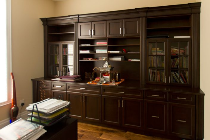 dark wood finish wall unit