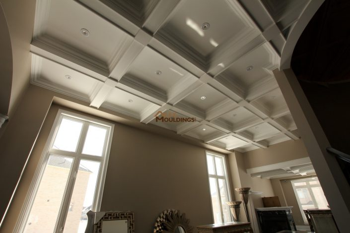 Contemporary style coffered ceiling