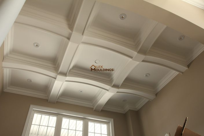 Contemporary English style waffle ceiling with curved beams