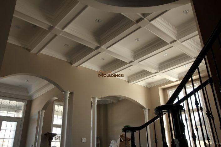 Waffle ceiling built in a hallway