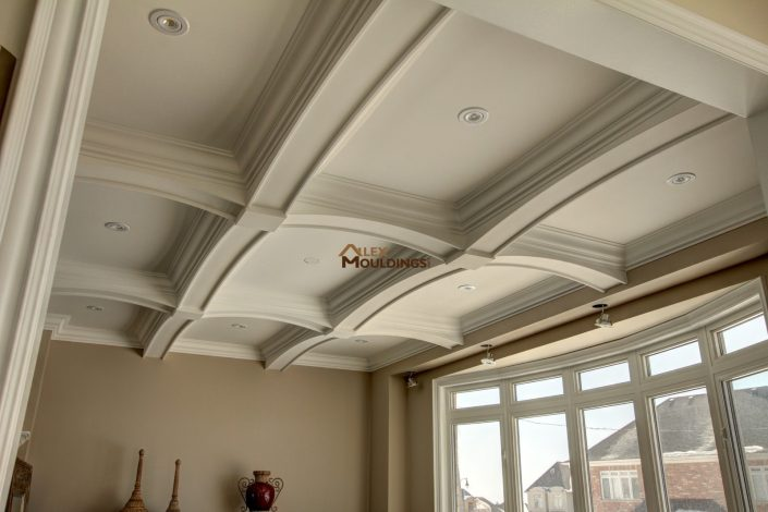 Curved beams coffered ceiling design