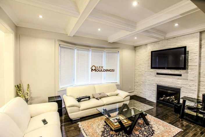 Coffered ceiling beams with crown moulding and lighting