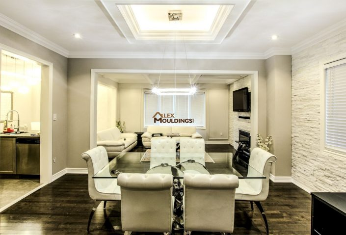 Ceiling designed with square box and accent lighting