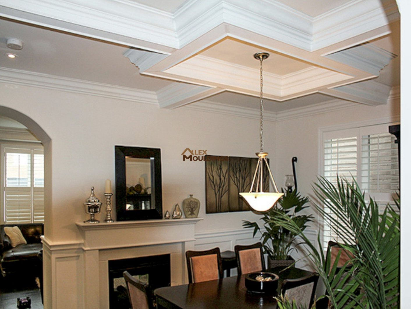 17 special coffered waffle ceilings making house look so for Coffered cathedral ceiling