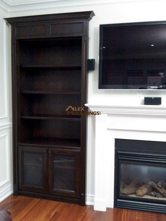 dark wood maple built-ins