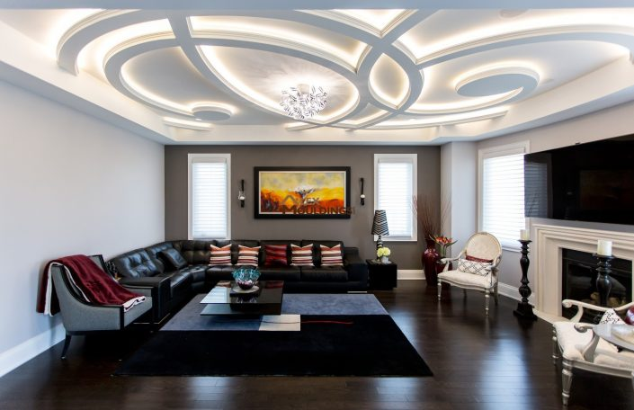 Wavy ceiling beams with led lighting
