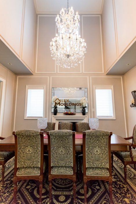 wall trim design in the dining room