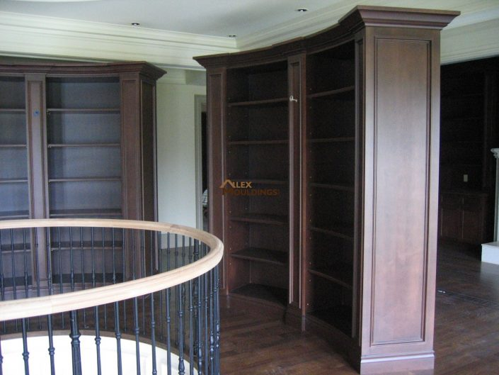 curvy wall units in a hallway