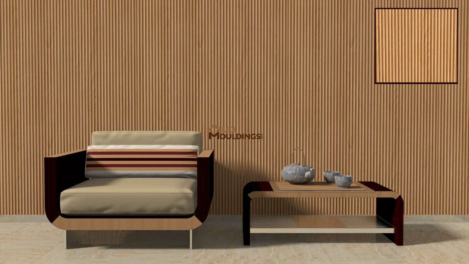 3D vertical fluted paneling