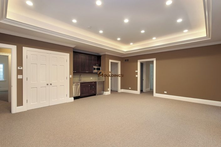 basement with tray ceiling