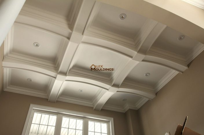 Arched beams coffered ceiling