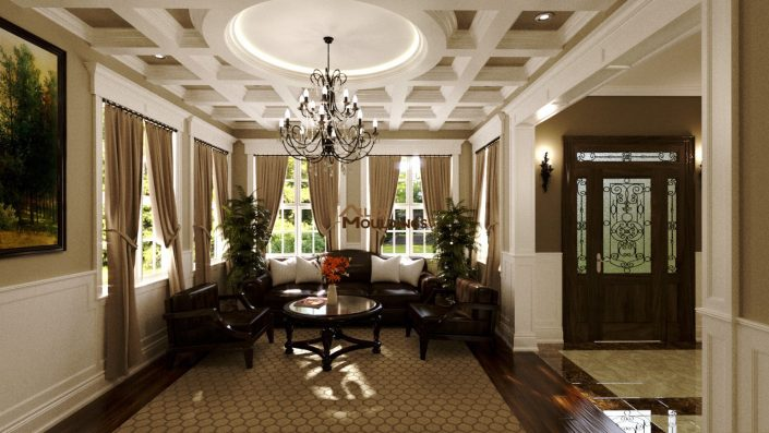 Great room coffered ceiling