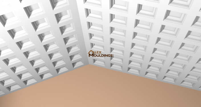 Coffered design on a slope ceiling