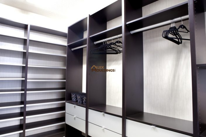 modern black and white closet system