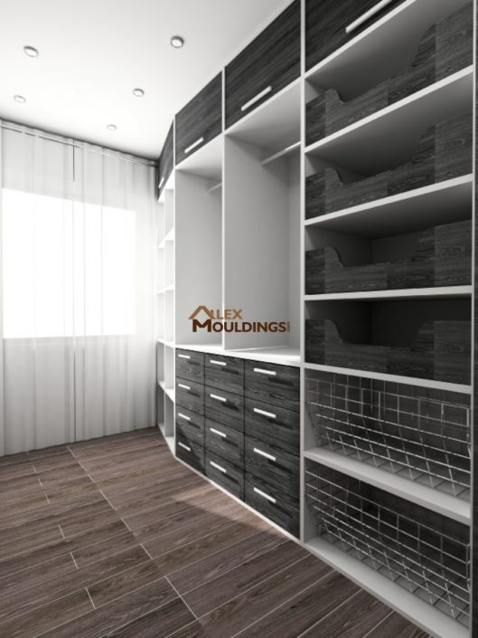 modern black storage built ins