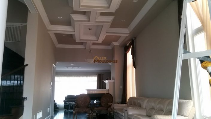 Attached boxes beamed ceiling