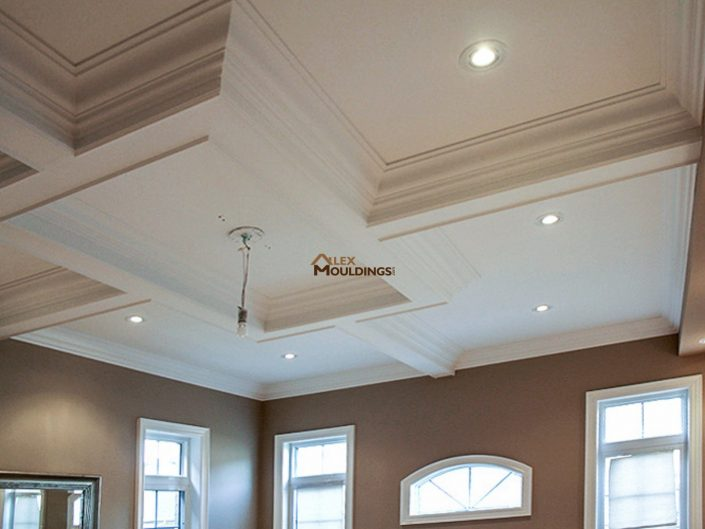 Coffered ceiling box with lighting