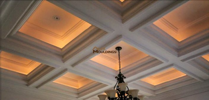 Cove lighting inside waffle ceiling boxes