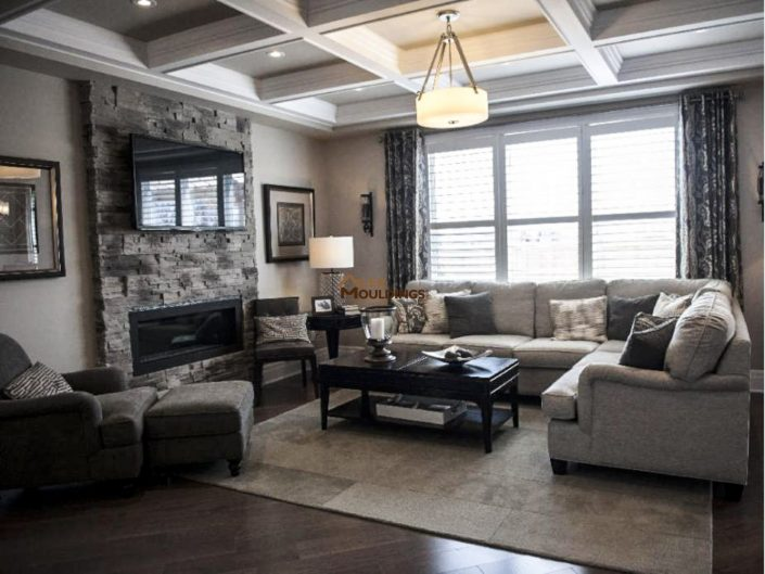 Model home coffered ceiling with cove lighting
