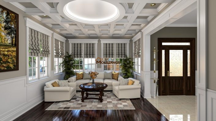 Designed coffered ceiling with inside panels