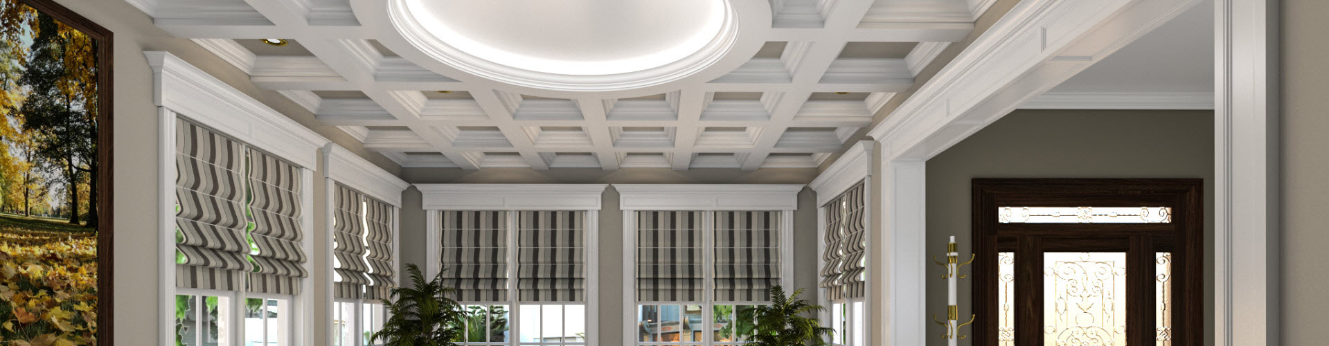 Millwork living room with circle coffered ceiling