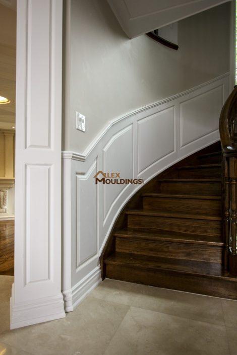 curved walls raised panel wainscotting