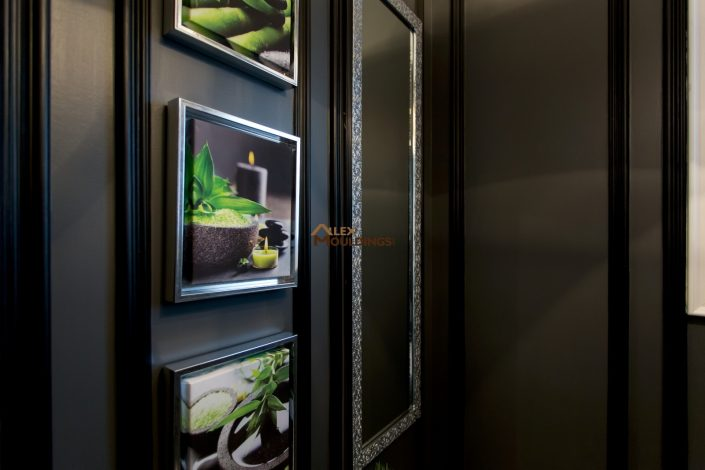 black powder room wall frames