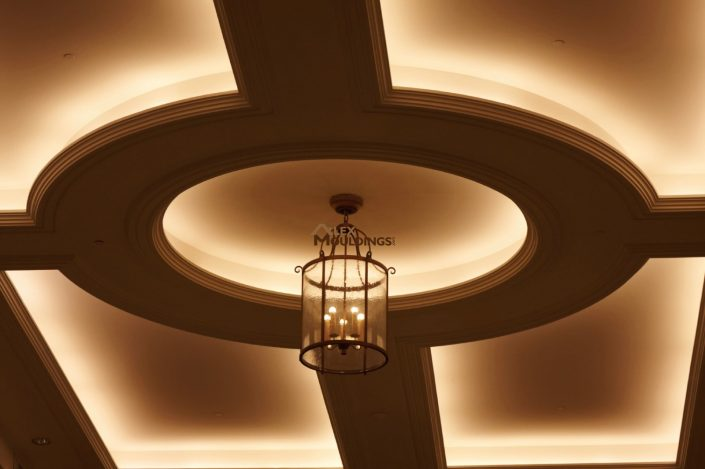 Circle with cove lighting on ceiling medalion